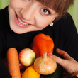 Girl and vegetables - Foto Stock