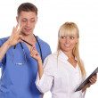 Cute doctor and nurse — Stock Photo