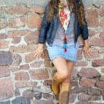 Girl at wall — Stock Photo #7174139
