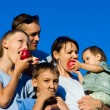 Family apples eating — Stock Photo #7184191