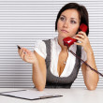 Girl with telephone — Stock Photo #7185315