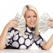 Pretty blonde with money — Stock Photo