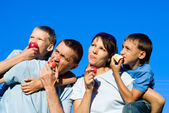 Family eating portrait — Foto de Stock