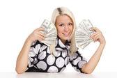 ładna blondynka z pieniędzy — Zdjęcie stockowe