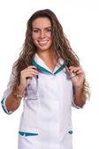 Cute nurse on white — Stock Photo