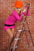 Pretty at ladder — Stock Photo