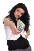 Woman with cash — Stock Photo
