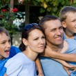 Nice family outside — Stockfoto
