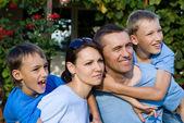 Nice family outside — Stock Photo
