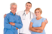 Doctor with old patients — Stock Photo