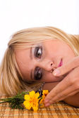 Girl and flowers — Stok fotoğraf