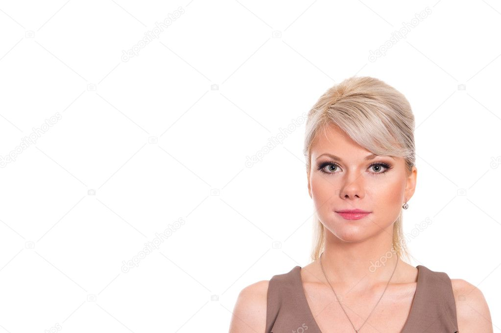 Portrait of a cute blonde on a white — Stock Photo #7376670