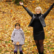 Mom and daughter at park — Stock Photo