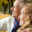 Happy aged couple in park — Photo