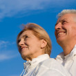 Aged couple at sky — Stock Photo #7621361