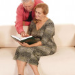 Old couple reading - Stock Photo