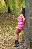 Garota de Rosa Shocking — Fotografia Stock