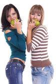 Dziewczyny i gruszka — Zdjęcie stockowe
