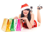 Pretty snow maiden with gifts — Stock Photo