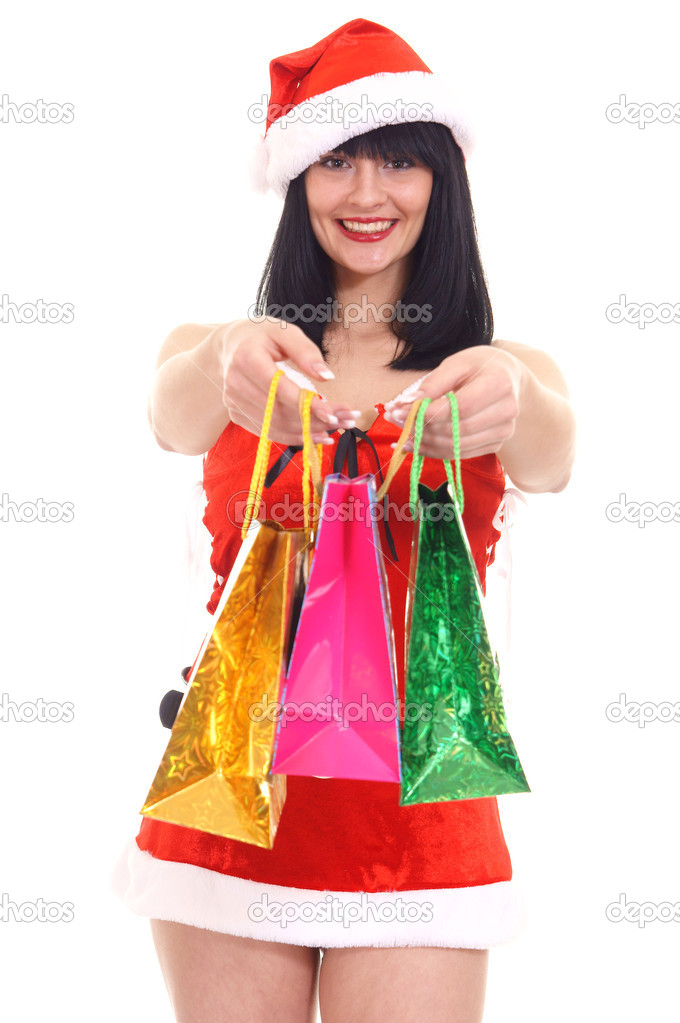 Pretty snow maiden with bags on white — Stock Photo #7623134