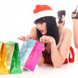 Pretty snow maiden with gifts - Stock Photo