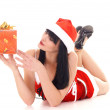 Snow maiden with a gift - Stock Photo