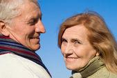 空を見て幸せ高齢者夫婦 — ストック写真