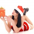 Snow maiden with a gift — Stock Photo #7713969