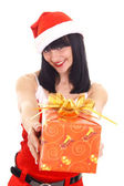 Cute snow maiden with gift — Stock Photo