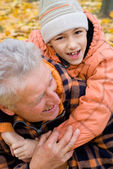 Grandfather and kid — Stock Photo