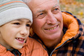 Old man with grandson — Stock Photo