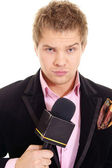 Pretty man and microphone — Stock Photo