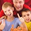 Dad with sons — Foto Stock