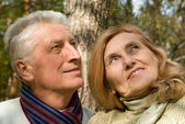 Happy old couple at forest — Stock Photo