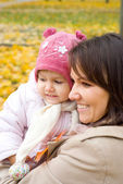 Mom and her baby at nature — Stock Photo