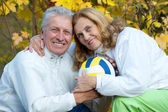 Olds with ball — Stock Photo