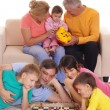 Family with chess — Stock Photo