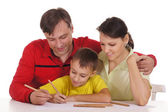 Cute family drawing — Stock Photo