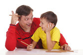 Father and son drawing — Stockfoto