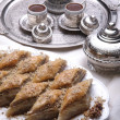 Ramadan dessert baklava and turkish coffee — Stock Photo