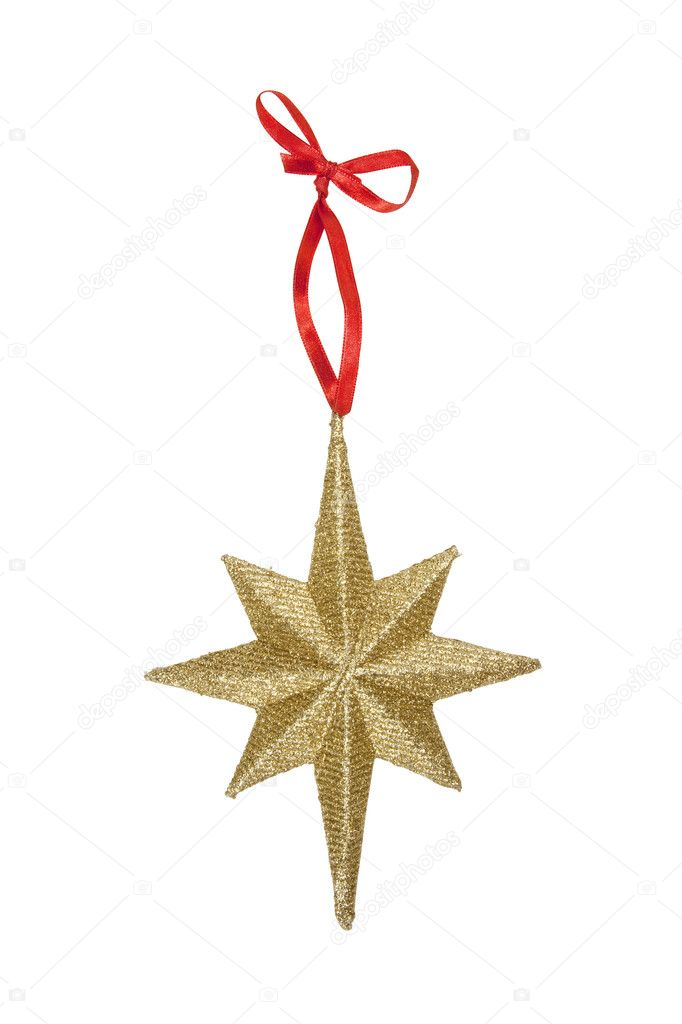 Star Christmas Ornament, isolated w/clipping path — Stock Photo #7164240