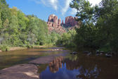 Cathedral Rock Reflection in Oak Creek — Stock Photo