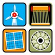 Alternative Energy Sources Icon Set - Stock Vector