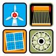 Alternative Energy Sources Icon Set — Stock Vector