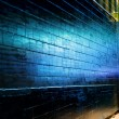 Stock Photo: Blue light reflect on Brick Wall