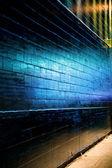 Blue light reflect on Brick Wall — Stock Photo
