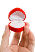 Red Heart Shaped Jewel Box — Stock Photo