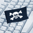 Pirate Flag and Computer Keyboard — Stock fotografie #7360597