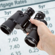 Stock Photo: Binoculars and Mortgage Rates