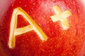 Pomme rouge et un signe plus — Photo